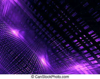 Abstract neon glowing grid - digitally generated image