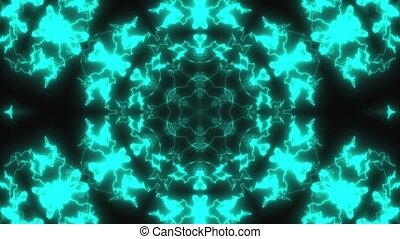 Abstract neon kaleidoscope background, 3d render computer...