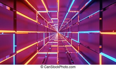 abstract neon metal tunnel 3d rendering cgi animation vfx dj loop in 4k uhd 60fps - perfect for djs, musician and streamer