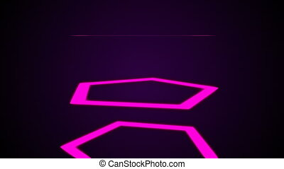 Abstract neon polygons in black space, 3d render backdrop, computer generating