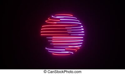 Abstract neon sphere background. Seamless loop