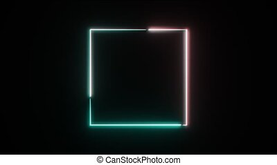 Abstract neon square frame. Seamless loop
