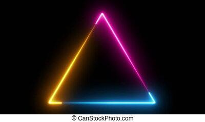 Abstract neon triangle, fluorescent light. Loop animation. Neon box, new technologies.