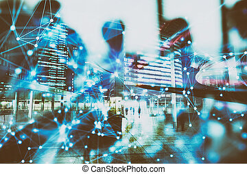 Abstract network background concept with double exposure and network effects