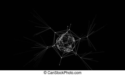 Abstract Network Connections Around Sphere with Lines and Dots on Black Background. Looped 3d Animation. Digital Technology and Business Concept. 4k Ultra HD 3840x2160.