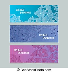 Abstract network digital cells banners. Vector banner backgrounds with connectivity patterns