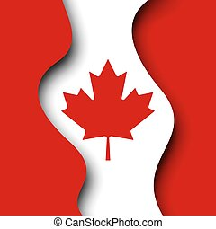 Abstract new waving flag of canada. Protest actions. Creative background for design of poster canadian patriotic holiday. Vector illustration of the canadian flag. Paper cut. Banner