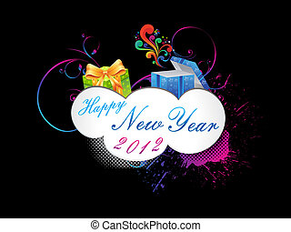abstract new year text with gifts