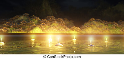 Abstract night background with candles in the water