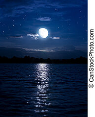 Abstract night background with moon and stars over the water...