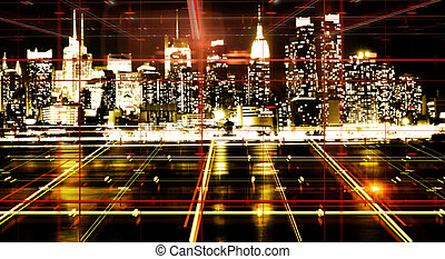 Abstract night city backdrop