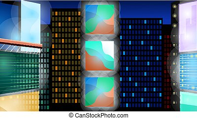 Abstract night city background. Cityscape on a dark background with bright and glowing neon lights