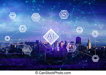 AI and network concept - Abstract night city background with...