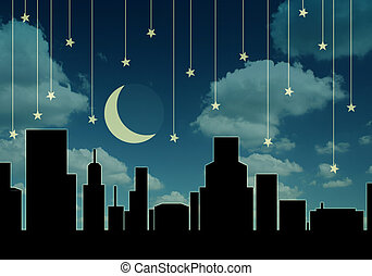 night cityscape - abstract night cityscape
