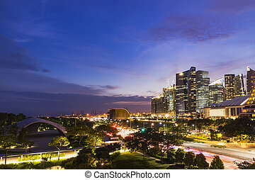 abstract night cityscape of singapore on twilight time