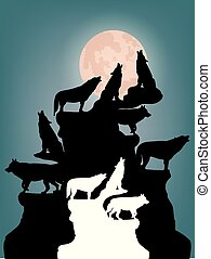 Abstract Night illustration, A herd of wolves howling at the moon, on top of a mountain, silhouette on a blue background,