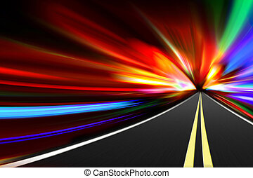 abstract night road - abstract acceleration speed motion on...