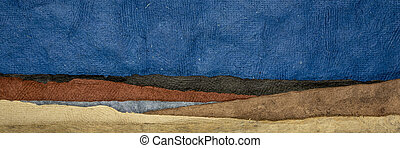 abstract nightime landscape - colorful textured paper sheets