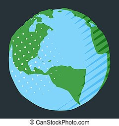 Abstract North and South America on globe as illustration of planet Earth