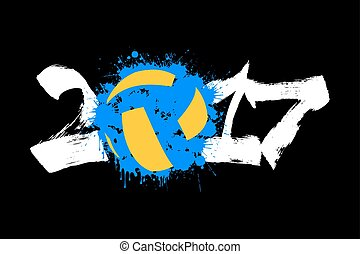 Abstract number 2017 and volleyball