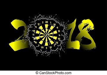 Abstract number 2018 and darts board
