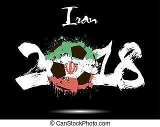 Abstract number 2018 and soccer ball blot