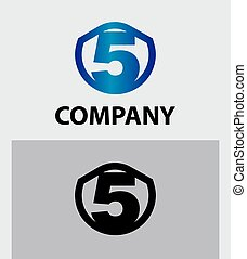 Abstract Number 5 logo Symbol icon