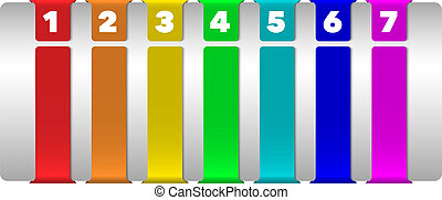 Abstract numbered vertical color banners