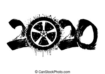 Abstract numbers 2020 and car wheel from blots