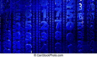 Abstract numbers in blue color