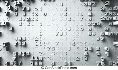 Abstract Numbers Random Motion, 3d Animation 3d rendering -...