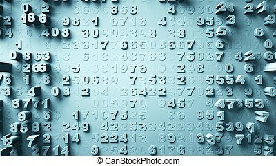 Abstract Numbers Random Motion 3d