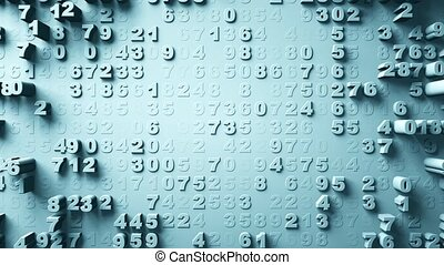 Abstract Numbers Random Motion. Blue color - Abstract...
