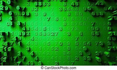 Abstract Numbers Random Motion green color