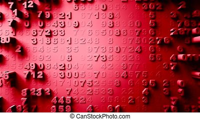 Abstract Numbers Random Motion red color - Abstract Numbers...