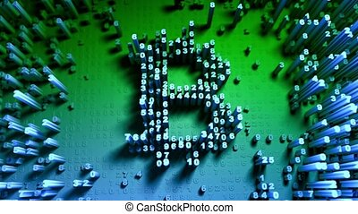 Abstract numbers Random movement in the form of coins bitcoin. Multicolor 4K