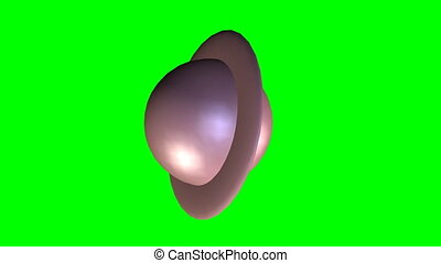 Abstract object similar to the planet Saturn spinning in space and expanding into red background, 3d video on green screen