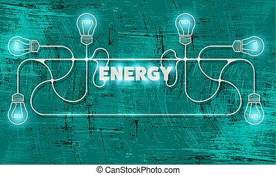 Abstract object with bulbs and the words energy