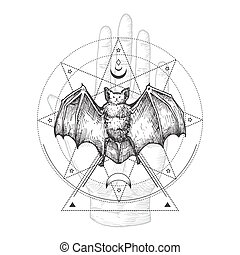 Abstract Occult Symbol, Vintage Style Logo or Tattoo Template. Hand Drawn Black Bat and Palm Hand Sketch Symbol and Geometric Mystical Magic Ornaments and Signs.