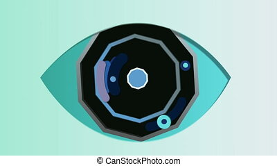 """Abstract octagonal eye in the celeste background"" - ""A..."
