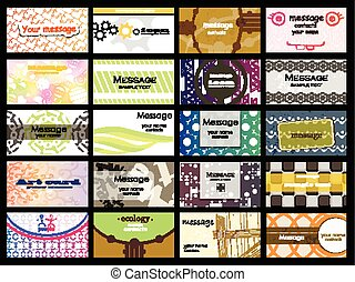abstract of 20 orizontal business cards on different topics. vector. Part 2