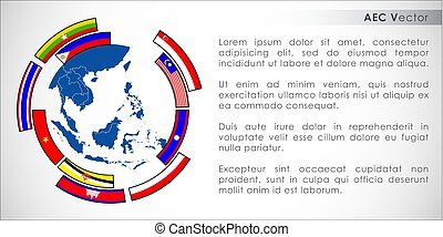 Abstract of Asean Economic Community, AEC. Vector and...