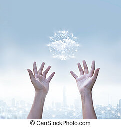 Abstract of business cloud computing circle global network connection over human  hands on blue sky, metropolis background
