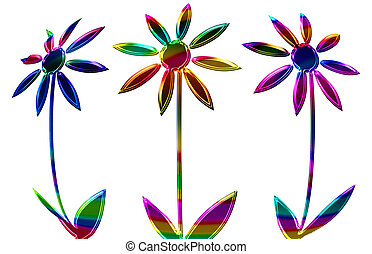 Abstract of colorful flowers isolated on a white background