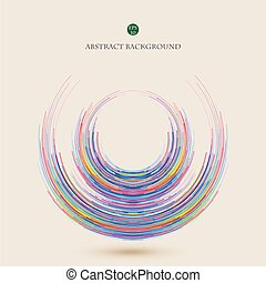 Abstract of colorful geometric lines in cercle background.