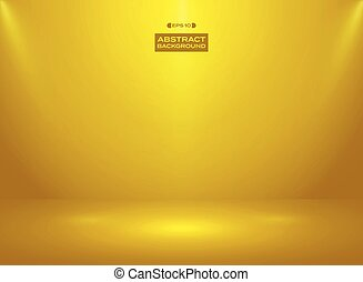 Abstract of gold color color in studio room background with sportlights.