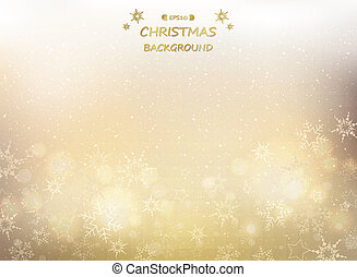 Abstract of golden christmas background with snowflakes and glitters.