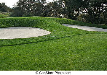 Abstract of golf course bunkers on a Spring Day