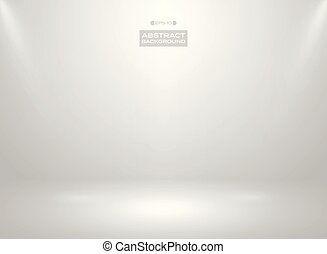 Abstract of gradient white color in studio room background with sportlights.