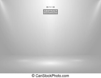 Abstract of gradient white gray color in studio room background with sportlights.
